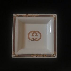 RARE AUTH GUCCI GG PORCELAIN TRINKET TRAY DISh
